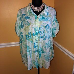 JAMAICA BAY Teal Floral Button-Down Blouse